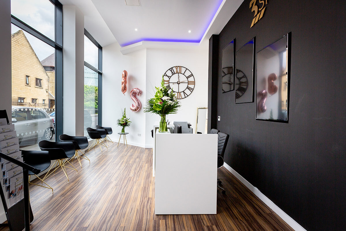 Image of reception area, luxury dental clinic 3 Step Smiles Glasgow